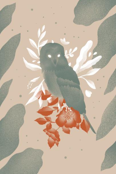 Art Print Design Template Featuring an Owl Illustration and Botanical Graphics 3564d