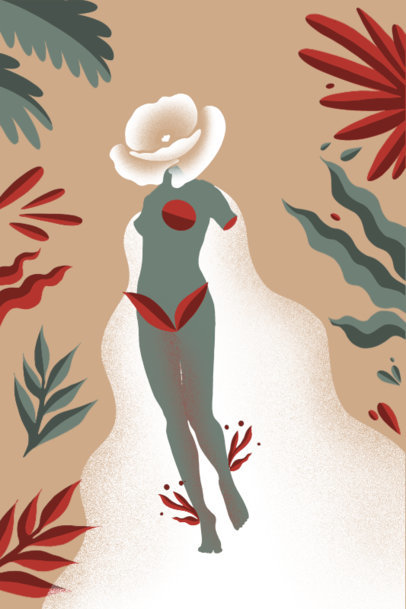 Art Print Template Featuring Botanical Graphics and a Female Silhouette 3564g