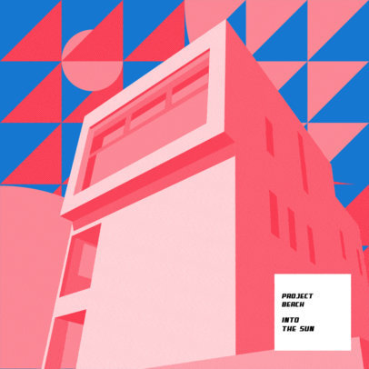 Funk Album Cover Maker Featuring a Minimal Building Illustration with a Groovy Aesthetic 3571i