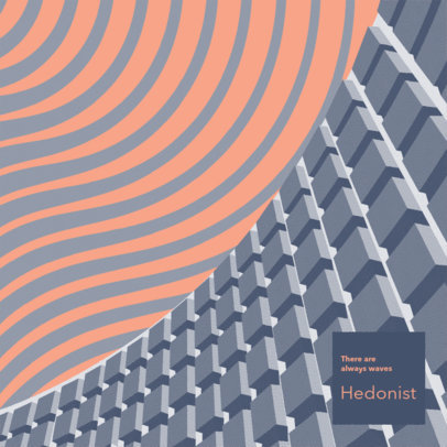 Trippy Album Cover Maker Featuring a Graphic Inspired by Brutalist Architecture 3571a