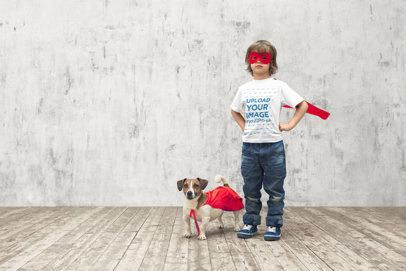 T-Shirt Mockup of a Little Boy and His Dog Playing to Be Superheroes m3236-r-el2
