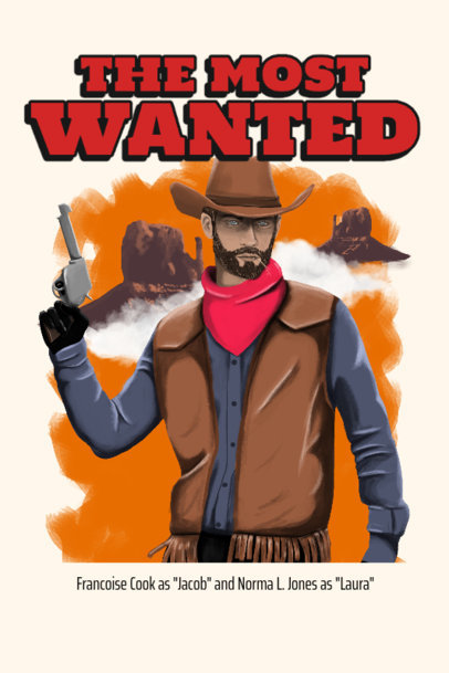 Western-Themed Poster Design Generator with an Illustration of a Sherif 3568c