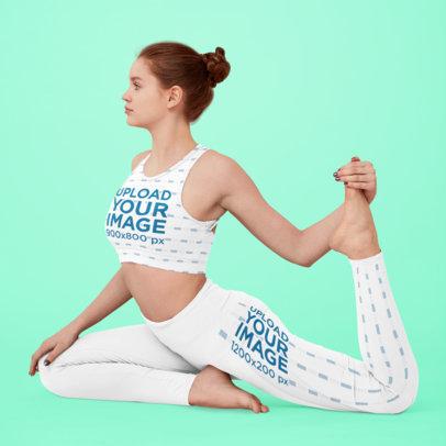 Sports Bra and Leggings Mockup of a Dancer Working on Her Split M3712-r-el2