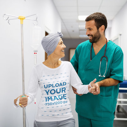 Long Sleeve Tee Mockup of a Woman Receiving Medical Treatment m3444-r-el2