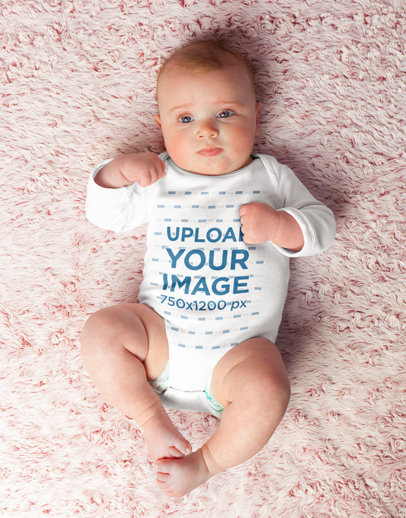 Onesie Mockup Featuring a Baby Laid Down over a Soft Surface M3782r-el2