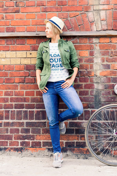 T-Shirt Mockup of a Relaxed Woman Posing by a Brick Wall m4147-r-el2