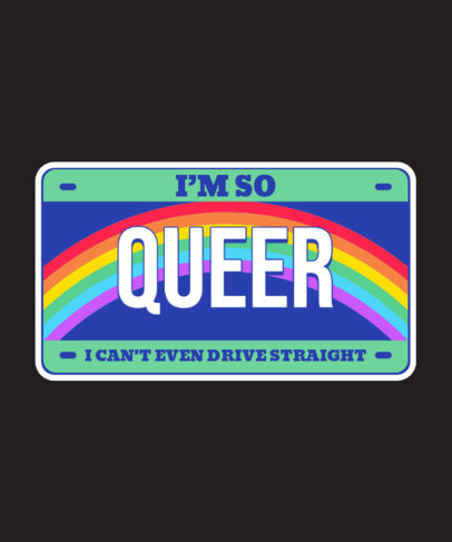 License Plate-Themed T-Shirt Design Template for LGBTQ Pride Month 3595