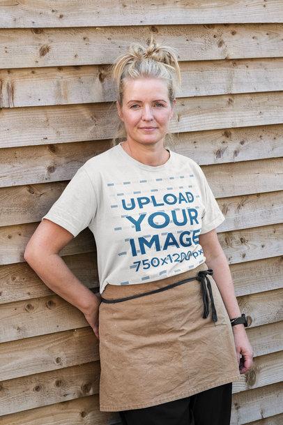Mockup of a Female Baker Wearing a T-Shirt m4757-r-el2
