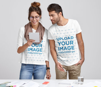 T-Shirt and 3/4 Sleeve Tee Featuring a Man and a Woman at Work m3201-r-el2
