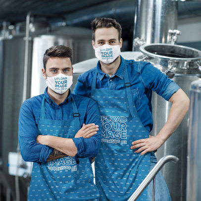 Face Mask and Apron Mockup Featuring Two Men Posing at a Brewery m3622-r-el2