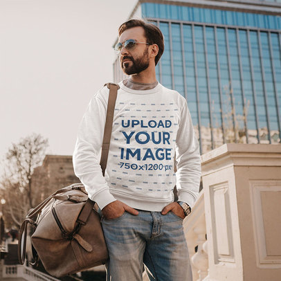 Sweatshirt Mockup of a Bearded Man with Carry-on Luggage m4214-r-el2