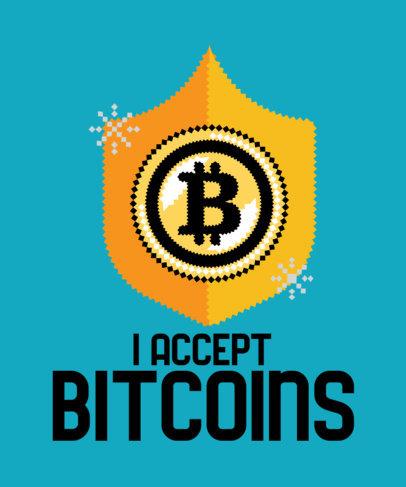 Retro T-Shirt Design Creator Featuring an Illustrated 8-bit-Style Bitcoin Shield 3583b