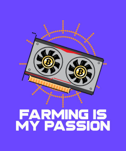 Illustrated T-Shirt Design Template for Bitcoin Farmers 3583d