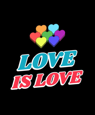 T-Shirt Design Creator for LGBTQ Support with Colorful Heart Graphics 3593g