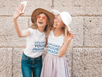 T-Shirt Mockup of Two Friends Having Fun While Taking a Selfie M2879-r-el2