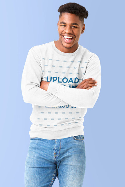 Sweatshirt Mockup Featuring a Smiling Man with Crossed Arms m4247-r-el2