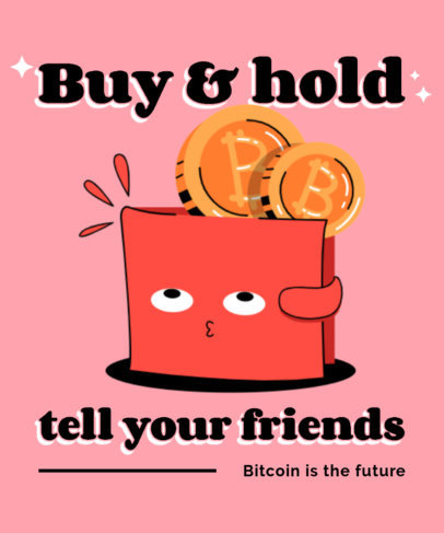 Cartoonish T-Shirt Design Creator with a Bitcoin-Themed Graphic 3584b