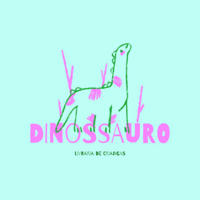 Kids' Bookstore Logo Template Featuring a Dinosaur Illustration 4253b