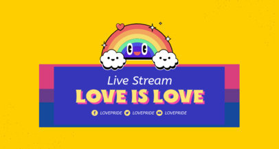 LGBT-Themed Twitch Banner Maker Featuring a Happy Rainbow Graphic 3590d