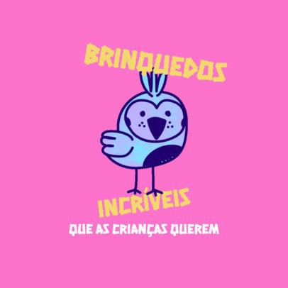 Logo Template for a Kids' Apparel Brand Featuring a Cute Bird Clipart 4256e