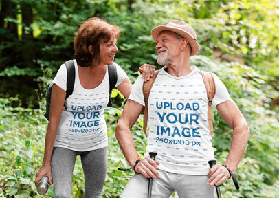 T-Shirt Mockup of a Senior Couple Hiking in the Woods m4532-r-el2