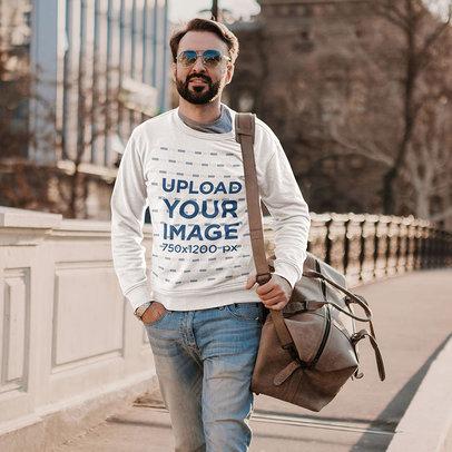 Sweatshirt Mockup of a Bearded Man Walking Around the City m4234-r-el2