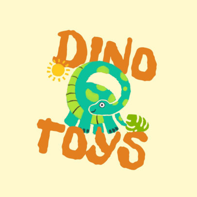 Logo Template for a Toy Store Featuring a Cute Dinosaur Clipart 4255a