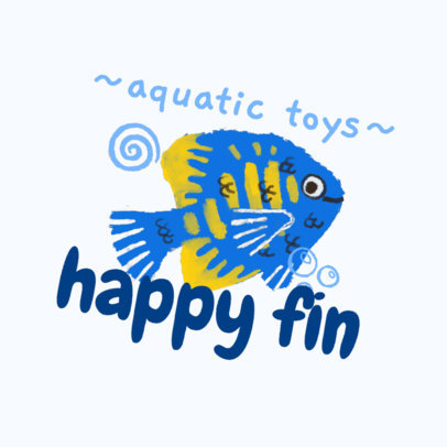 Logo Maker for an Aquatic Toys Brand Featuring a Fish Illustration 4255c