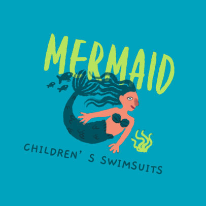 Logo Template for a Kids' Swimsuit Store Featuring a Mermaid Clipart 4255g