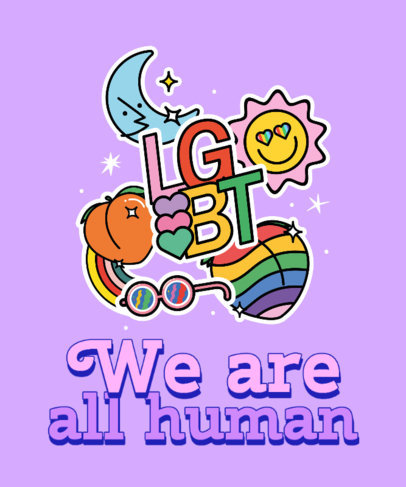T-Shirt Design Template for Pride Month Featuring a Quote and Stickers 3602a