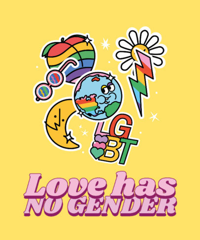 Colorful T-Shirt Design Maker Featuring LGBTQ Stickers and a Quote 3602g