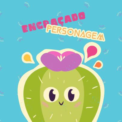 Cartoonish Logo Maker for a Kids' Apparel Brand Featuring a Cactus 4254c