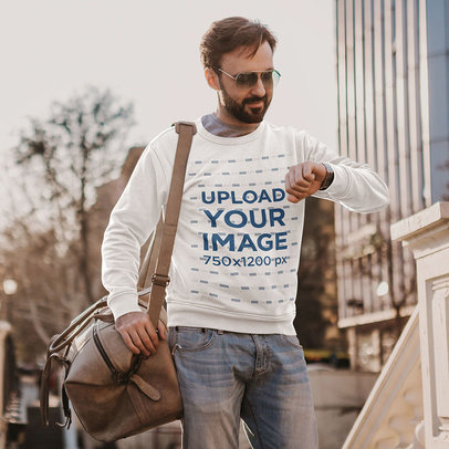 Sweatshirt Mockup Featuring a Man with Sunglasses Checking the Time on His Watch m4240-r-el2