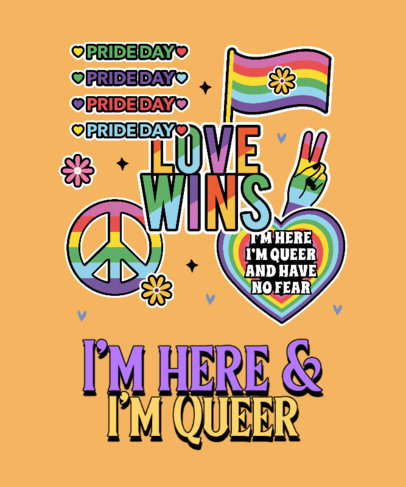 T-Shirt Design Maker Featuring an LGBTQ Pride Quote and Colorful Graphics 3602n