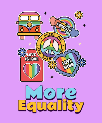 LGBTQ Pride T-Shirt Design Template Featuring an Equality Message and Fun Graphics 3602p