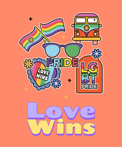 T-Shirt Design Generator to Celebrate LGBTQ Pride Month Featuring Colorful Stickers 3602q