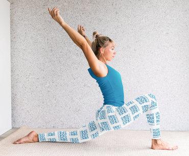 Sublimated Leggings Mockup Featuring a Woman Practicing Yoga M4710-r-el2