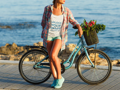 Tank Top Mockup of a Woman Posing with Her Bike by the Ocean 36129-r-el2