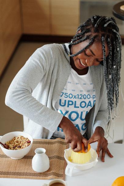 T-Shirt Mockup of a Woman Making Herself a Healthy Breakfast M4203-r-el2