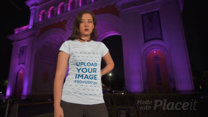 T-Shirt Video of a Woman Posing at Night by an Urban Arch 3027v