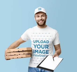 T-Shirt and Dad Hat Mockup of a Delivery Man with Boxes and a Clipboard m3982-r-el2