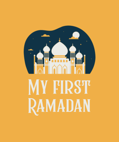 T-Shirt Design Template for Ramadan Month Featuring Quotes and Illustrations 3615