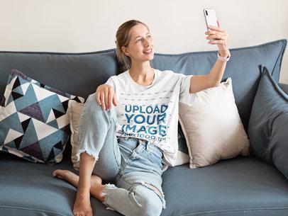 T-Shirt Mockup of a Woman Making a Video Call at Home m5140-r-el2