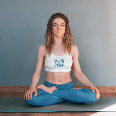 Sports Bra Mockup of a Serious Woman Doing Yoga m5703-r-el2