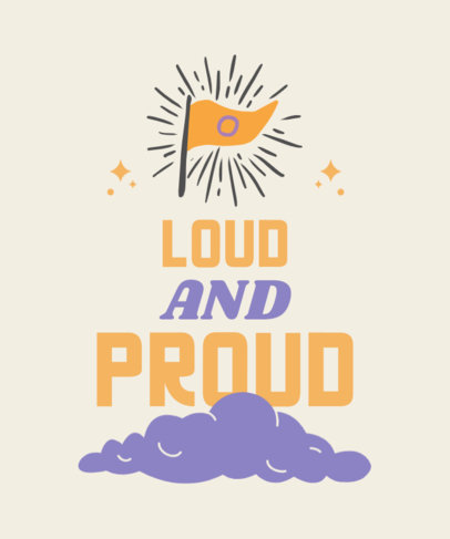 LGBT T-Shirt Design Template Featuring a Flag Icon and an Inspiring Quote 3832e-el1