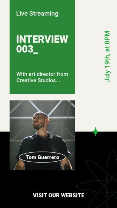 Minimalistic Instagram Story Creator for a Live Interview Announcement 3822b-el1