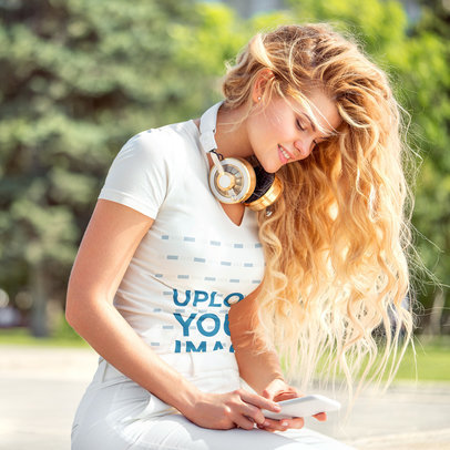 V-Neck Mockup of a Woman Listening to Some Music at a Park 40597-r-el2