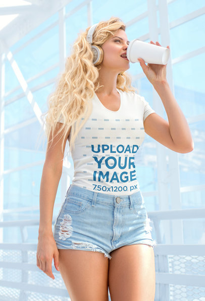 T-Shirt Mockup of a Woman Listening to Music While Drinking Coffee 35707-r-el2