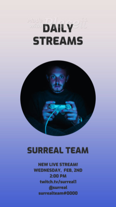 Instagram Story Video Template for Gaming Streamers Featuring a Simple Layout 1322a 3168-el1
