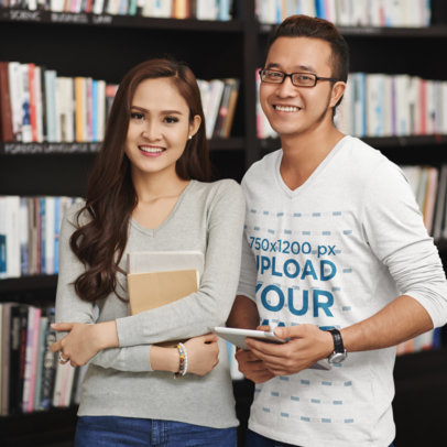 V-Neck Long Sleeve Tee Mockup of Two Friends at a Library M4206-r-el2